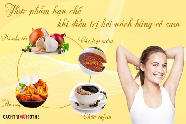 thực phẩm nên hạn chế khi điều trị hôi nách vỏ cam
