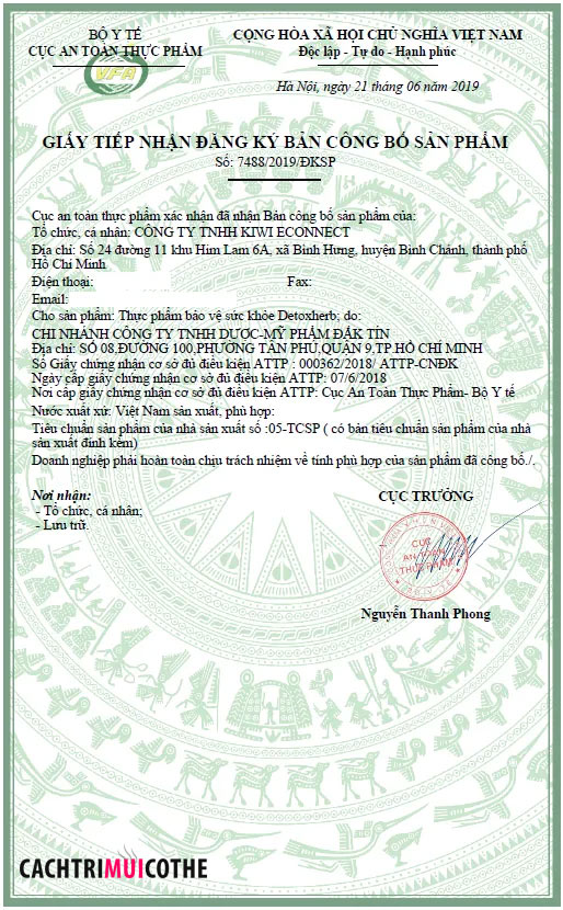 giấy chứng nhận detox herb